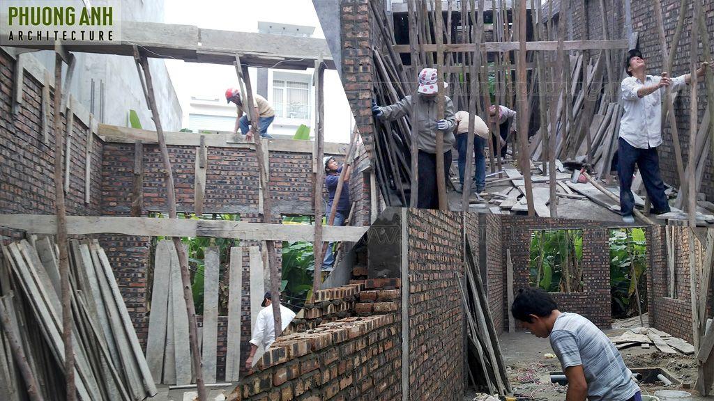 Thi công xây tầng 1 với tinh thần làm việc cao nhất