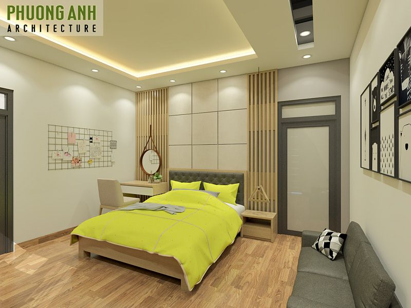 Mẫu phòng ngủ độc đáo với tông màu vàng cá tính