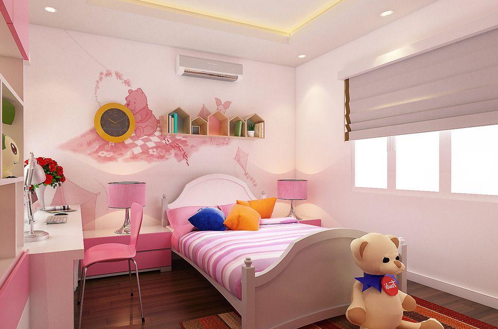 Thi công hoàn thiện nội thất phòng ngủ bé gái