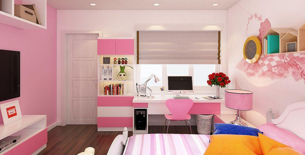 Thiết kế thi công nội thất phòng ngủ bé gái