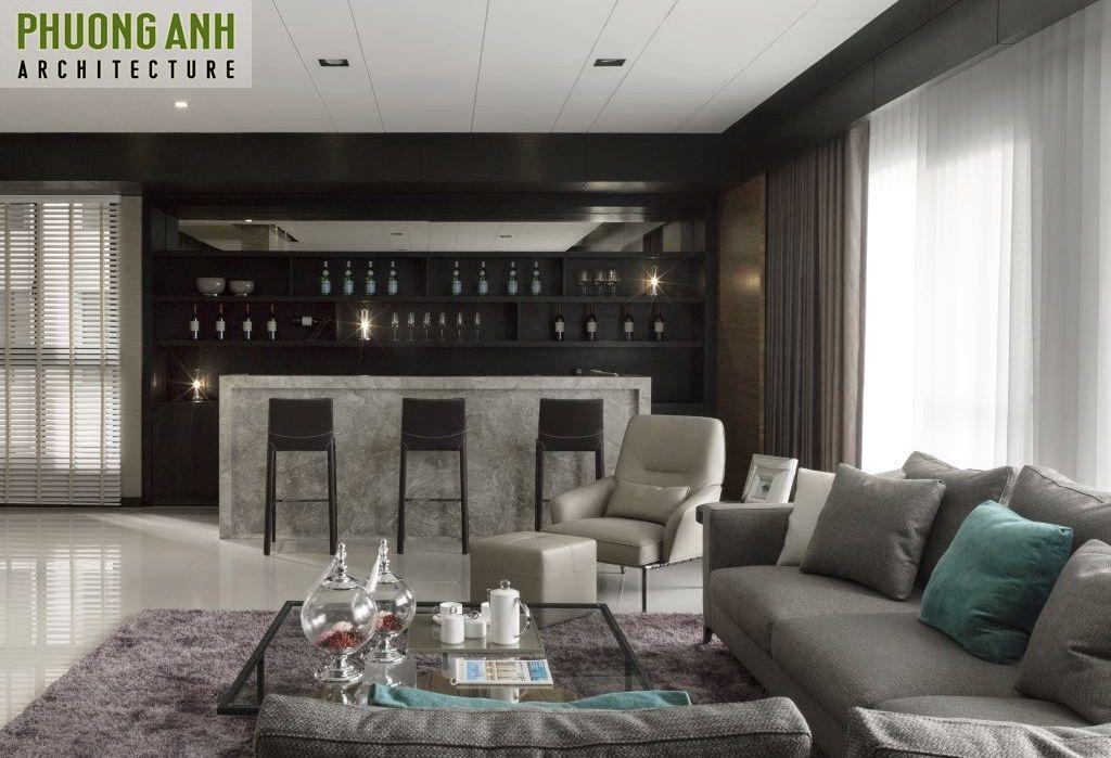 trang tri noi that quan bar trong phong khach - Thiết kế nội thất chung cư hiện đại Mipec Riverside