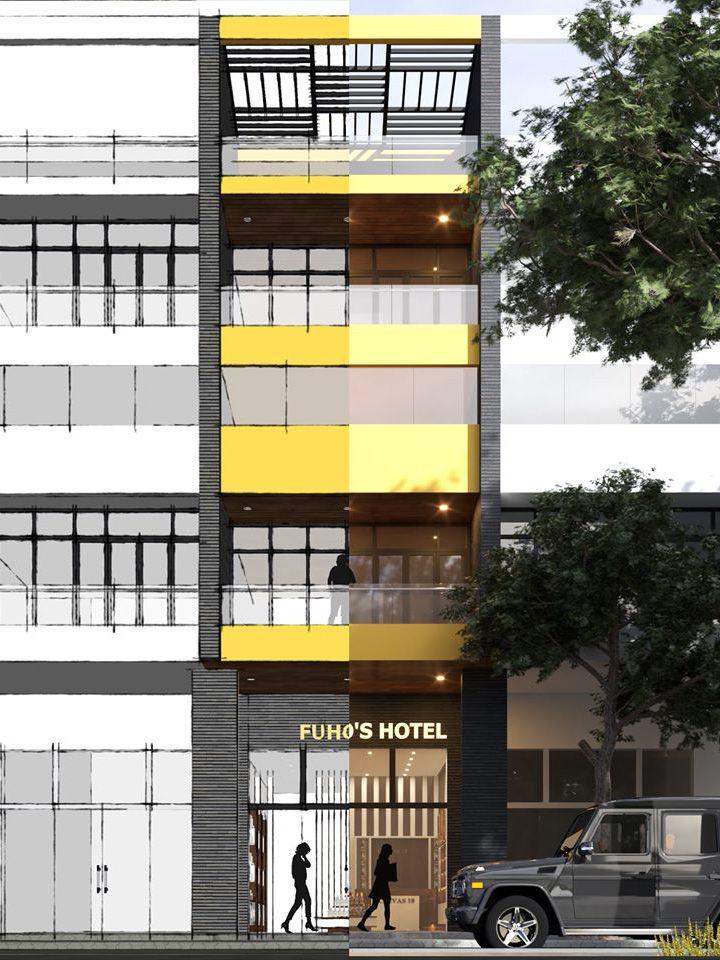 Thiet ke nha ong mat tien 5m - Mẫu nhà 5 tầng đẹp mặt tiền 5m kết hợp kinh doanh